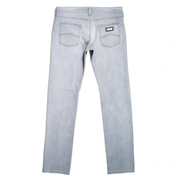 GIORGIO ARMANI Mens J06 Grey Low Waist Narrow Leg Slim Fit Stretch Denim Jeans with zip fly