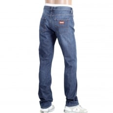 Mens J15 Regular Fit Blue Stretch Jeans with Zip Fly and Small Metal Logo Tab on Ticket pocket
