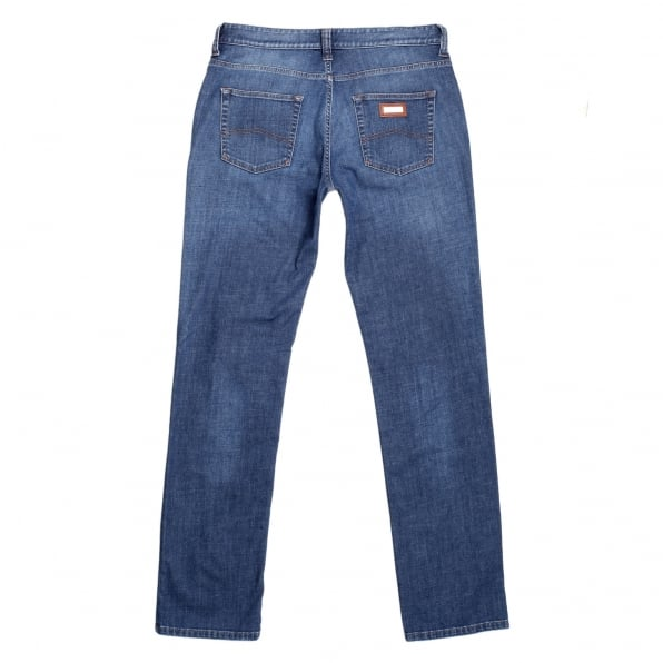 GIORGIO ARMANI Mens J15 Regular Fit Blue Stretch Jeans with Zip Fly and Small Metal Logo Tab on Ticket pocket