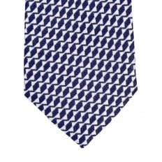 Mens Navy Blue Patterned Silk Tie with Jacquard Logo Lining