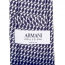 GIORGIO ARMANI Mens Navy Blue Patterned Silk Tie with Jacquard Logo Lining