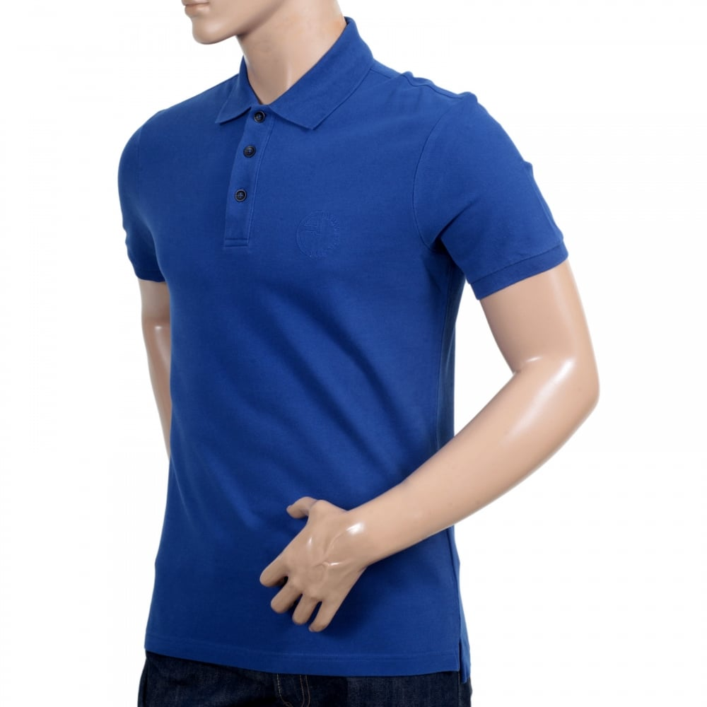 Shop for regular fit blue polo shirts at niro fashion for Three button collar shirts