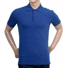 Mens Regular Fit 3 Button Pique Short Sleeve Polo Shirt in Electric Blue with Ribbed Collar and Sleeve Cuffs