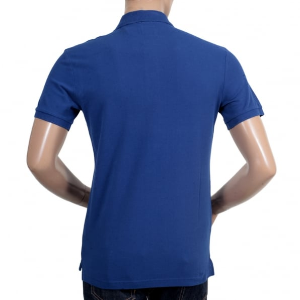 GIORGIO ARMANI Mens Regular Fit 3 Button Pique Short Sleeve Polo Shirt in Electric Blue with Ribbed Collar and Sleeve Cuffs