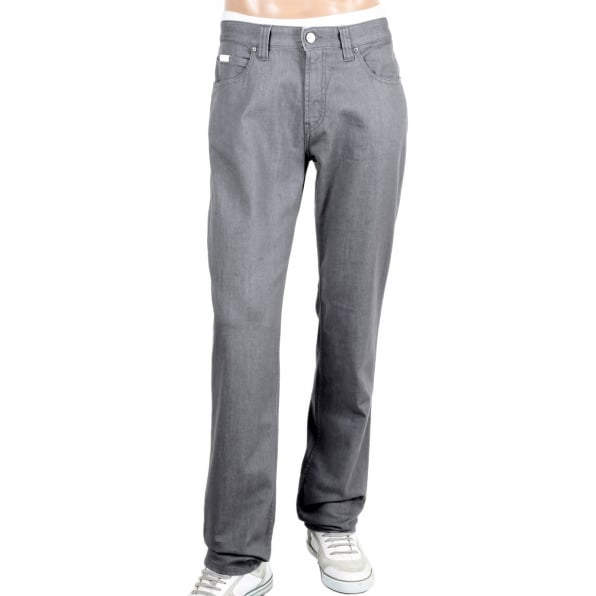 GIORGIO ARMANI Mens Regular Fit J15 Grey Straight and Tight Leg Stretch Denim Jeans with Zip Fly