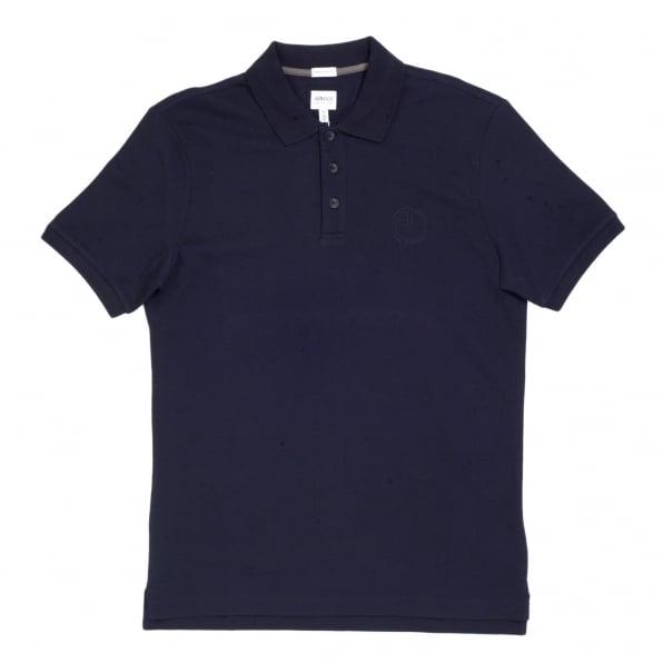 GIORGIO ARMANI Navy Blue Cotton Polo Shirt with Three Button Design Ribbed Collar and Sleeve Cuffs