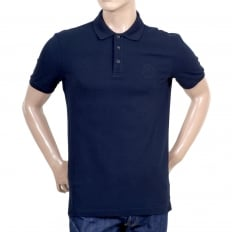 Navy Blue Cotton Polo Shirt with Three Button Design Ribbed Collar and Sleeve Cuffs