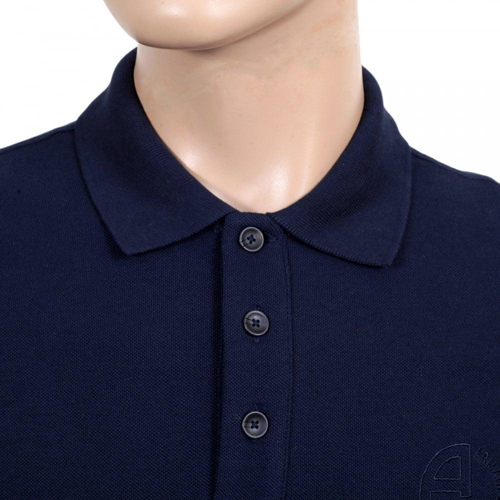 Shirt design blue cotton -  Giorgio Armani Navy Blue Cotton Polo Shirt With Three Button Design Ribbed Collar And Sleeve Cuffs