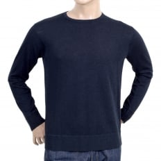 Regular Fit Cotton Mix Navy Blue Crew Neck Knitwear Jumper with Reverse Knit Waistband and Sleeve Cuffs
