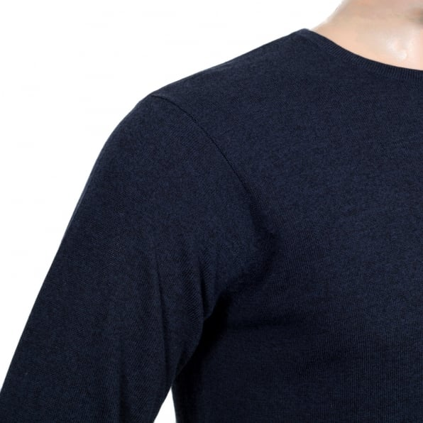 GIORGIO ARMANI Regular Fit Cotton Mix Navy Blue Crew Neck Knitwear Jumper with Reverse Knit Waistband and Sleeve Cuffs