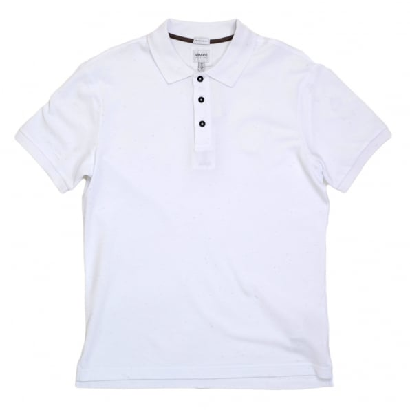 GIORGIO ARMANI Regular Fit Cotton Pique White Polo Shirt for Men with Three Button Placket, Ribbed Collar and Sleeve Cuffs