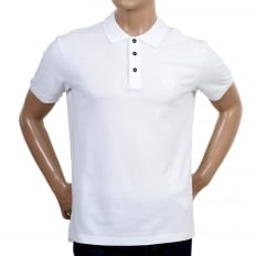 Regular Fit Cotton Pique White Polo Shirt for Men with Three Button Placket, Ribbed Collar and Sleeve Cuffs