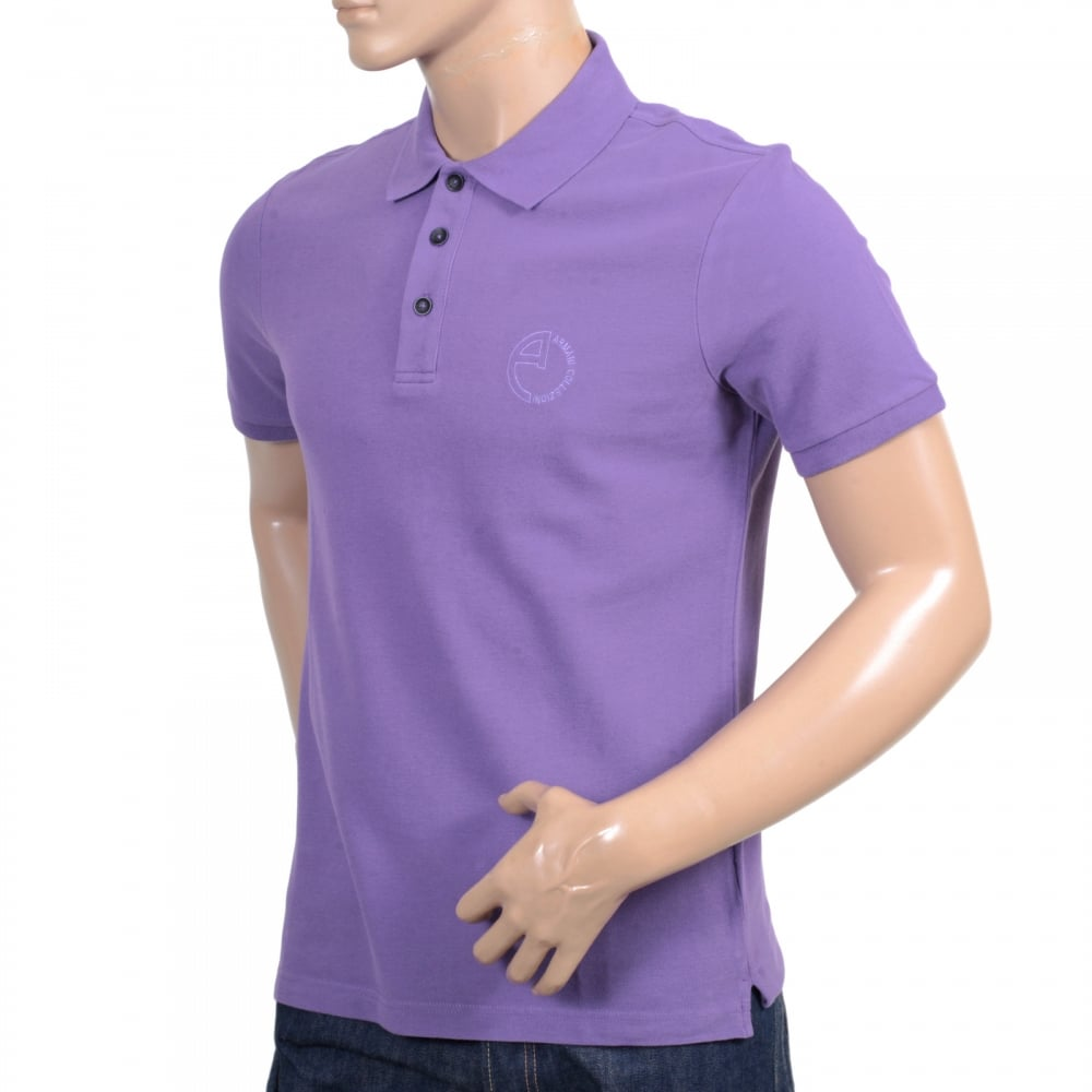 The best in pique polo shirt in violet by armani collezioni for Three button collar shirts