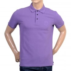 Short Sleeve Pique Violet Cotton Polo Shirt for Men with Three Button Design Ribbed Collar and Sleeve Cuffs
