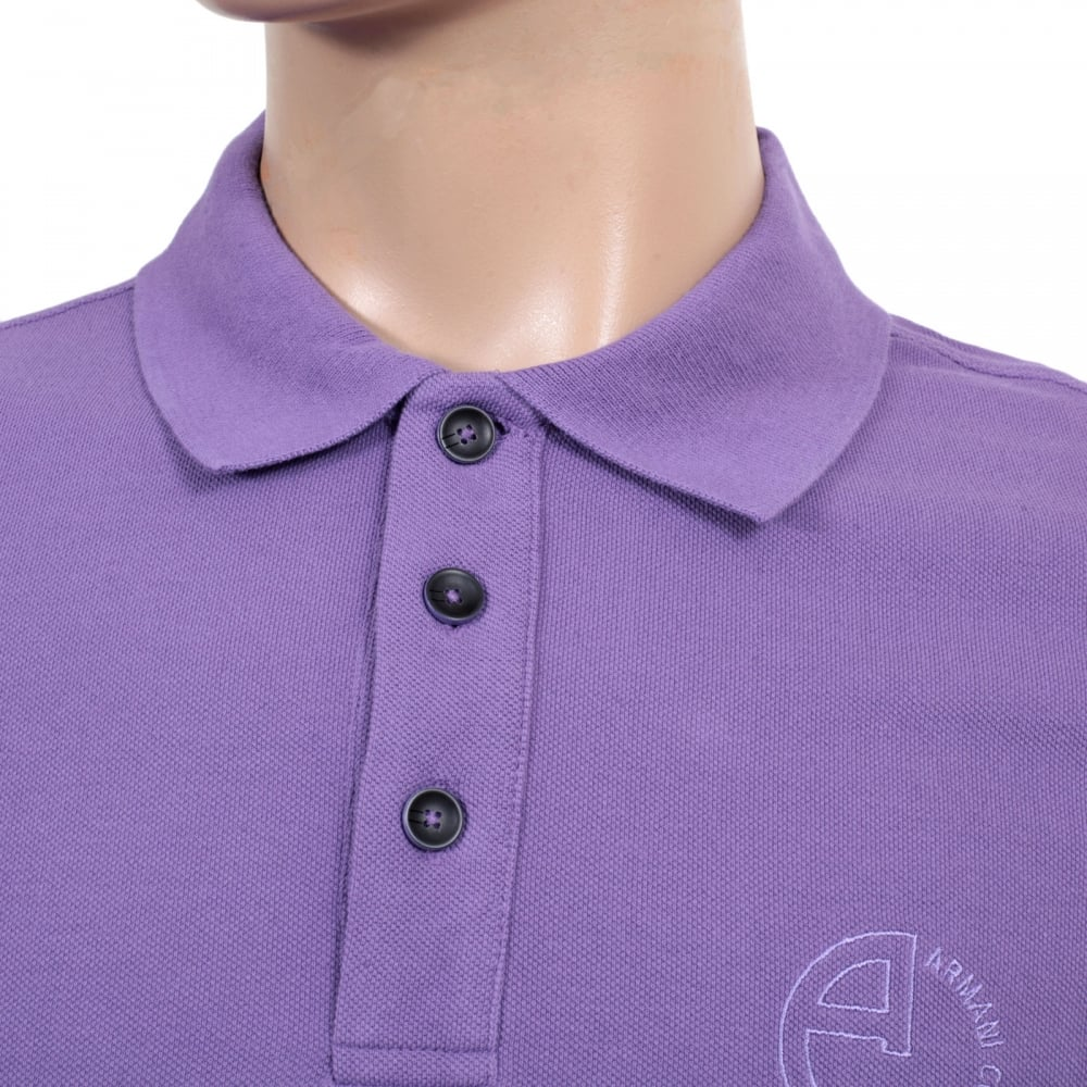 The Best In Pique Polo Shirt In Violet By Armani Collezioni