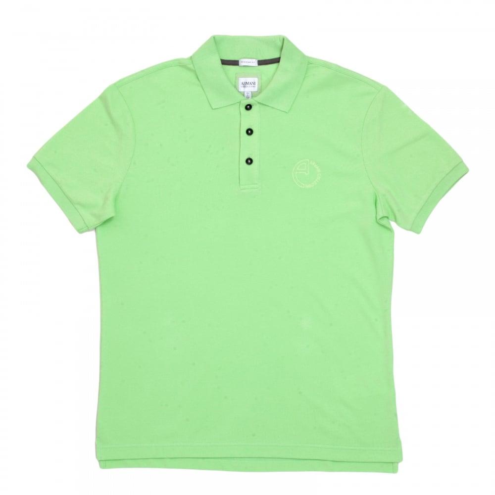 552a2065b ... GIORGIO ARMANI Short Sleeve Regular Fit 3 Button Pique Light Green Polo  Shirt for Men with ...