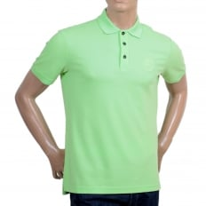 Short Sleeve Regular Fit 3 Button Pique Light Green Polo Shirt for Men with Self Coloured Embroidered Chest Logo
