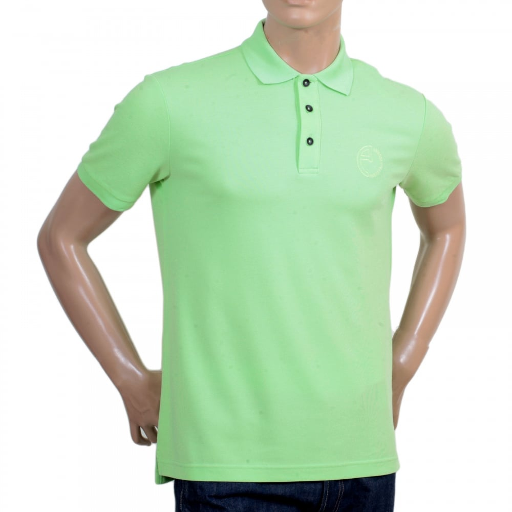 98215b83c GIORGIO ARMANI Short Sleeve Regular Fit 3 Button Pique Light Green Polo  Shirt for Men with Self Coloured Embroidered Chest Logo