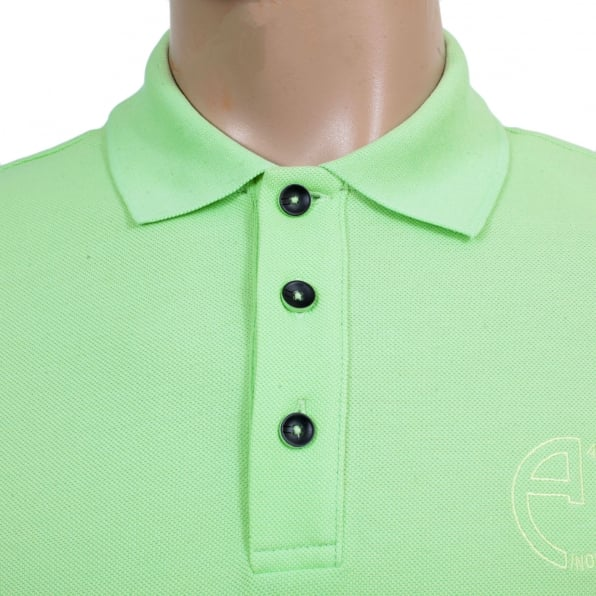 GIORGIO ARMANI Short Sleeve Regular Fit 3 Button Pique Light Green Polo Shirt for Men with Self Coloured Embroidered Chest Logo