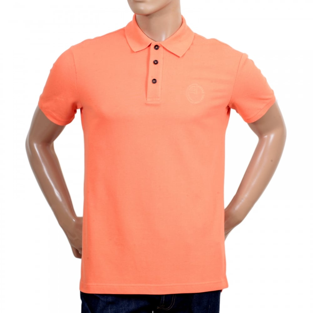 GIORGIO ARMANI Short Sleeve Regular Fit 3 Button Pique Orange Polo Shirt  for Men with Self ...