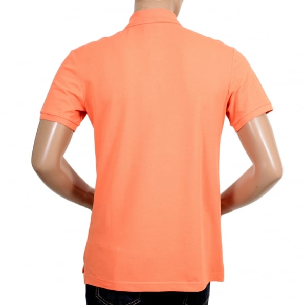 GIORGIO ARMANI Short Sleeve Regular Fit 3 Button Pique Orange Polo Shirt for Men with Self Coloured Embroidered Chest Logo