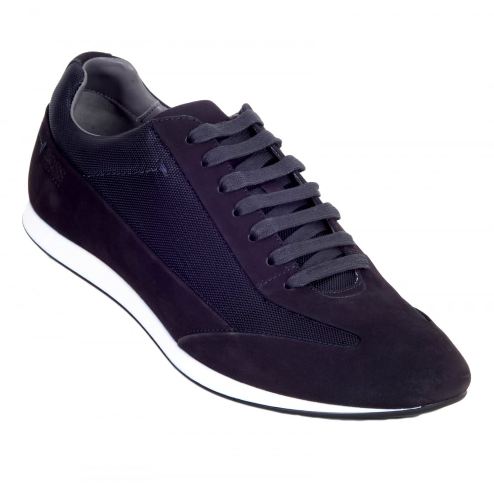 f5fba97ab5 HUGO BOSS BLACK Black 50298113 Fultens Mens Low Top Blue Trainers with  Suede and Nylon Uppers ...