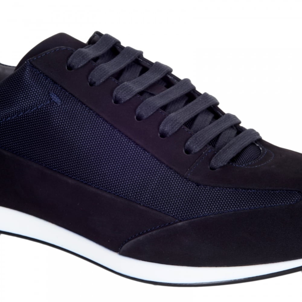 faddd78075 ... HUGO BOSS BLACK Black 50298113 Fultens Mens Low Top Blue Trainers with  Suede and Nylon Uppers ...