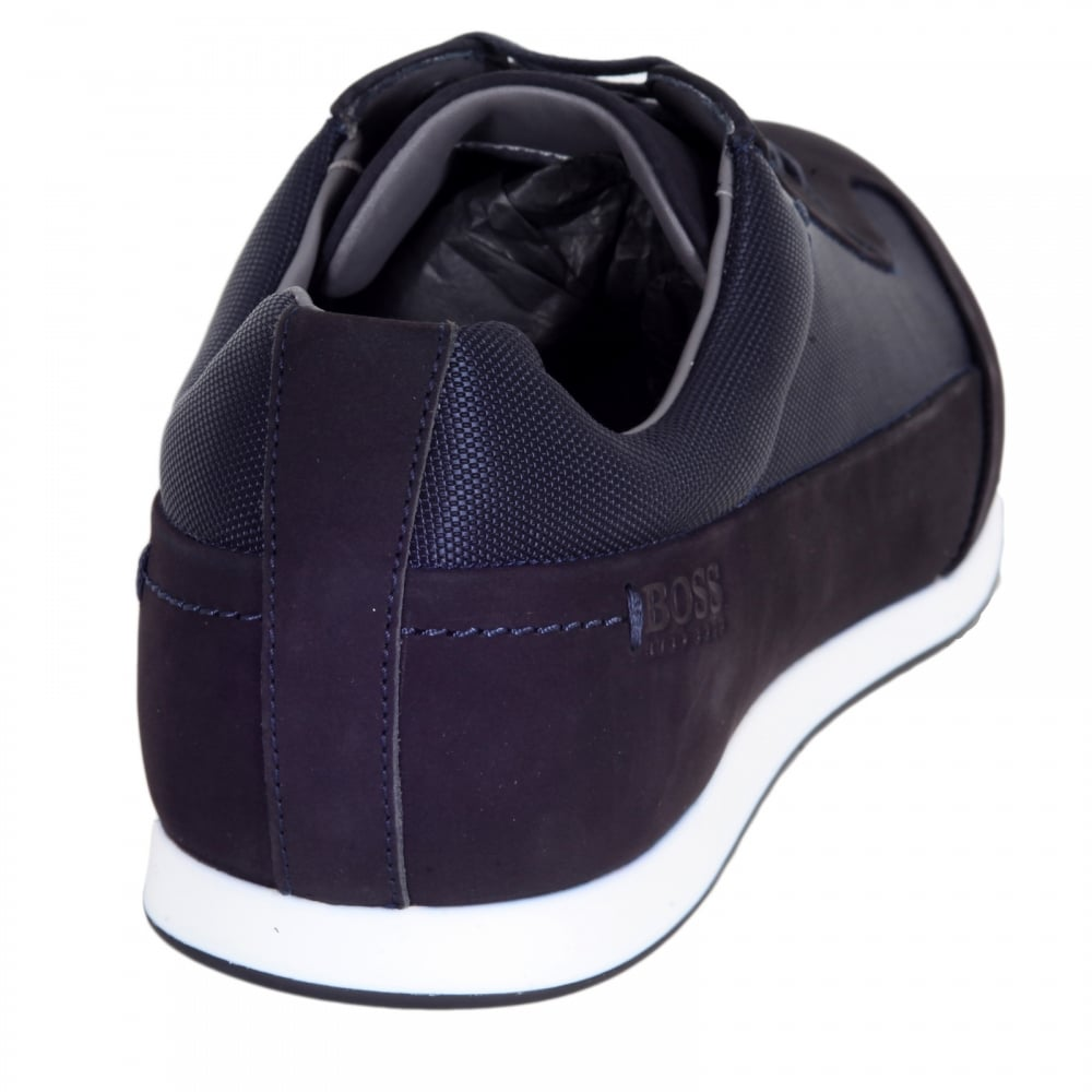 7a407d4e538 ... HUGO BOSS BLACK Black 50298113 Fultens Mens Low Top Blue Trainers with  Suede and Nylon Uppers ...