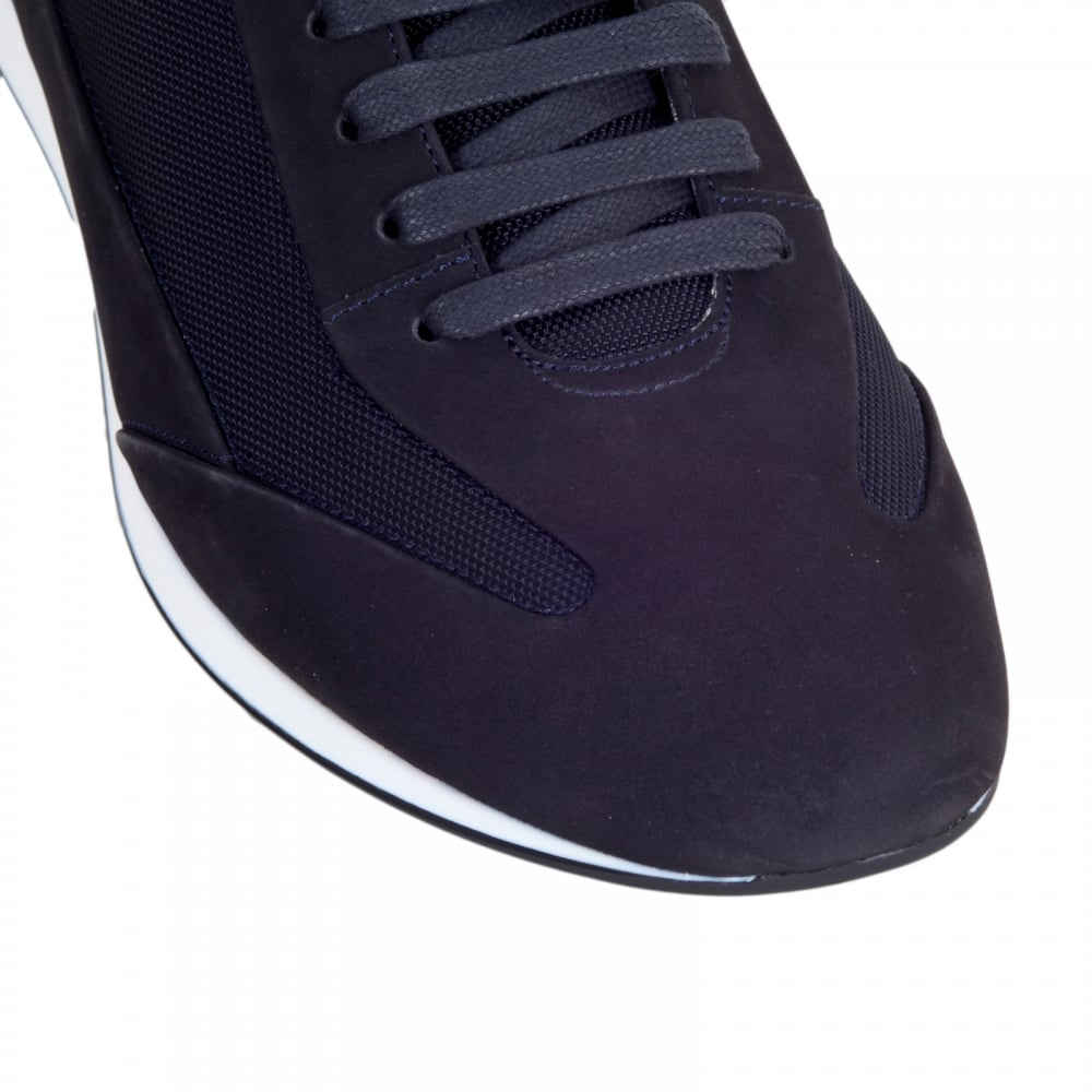 4c572ca7c9a ... HUGO BOSS BLACK Black 50298113 Fultens Mens Low Top Blue Trainers with  Suede and Nylon Uppers ...