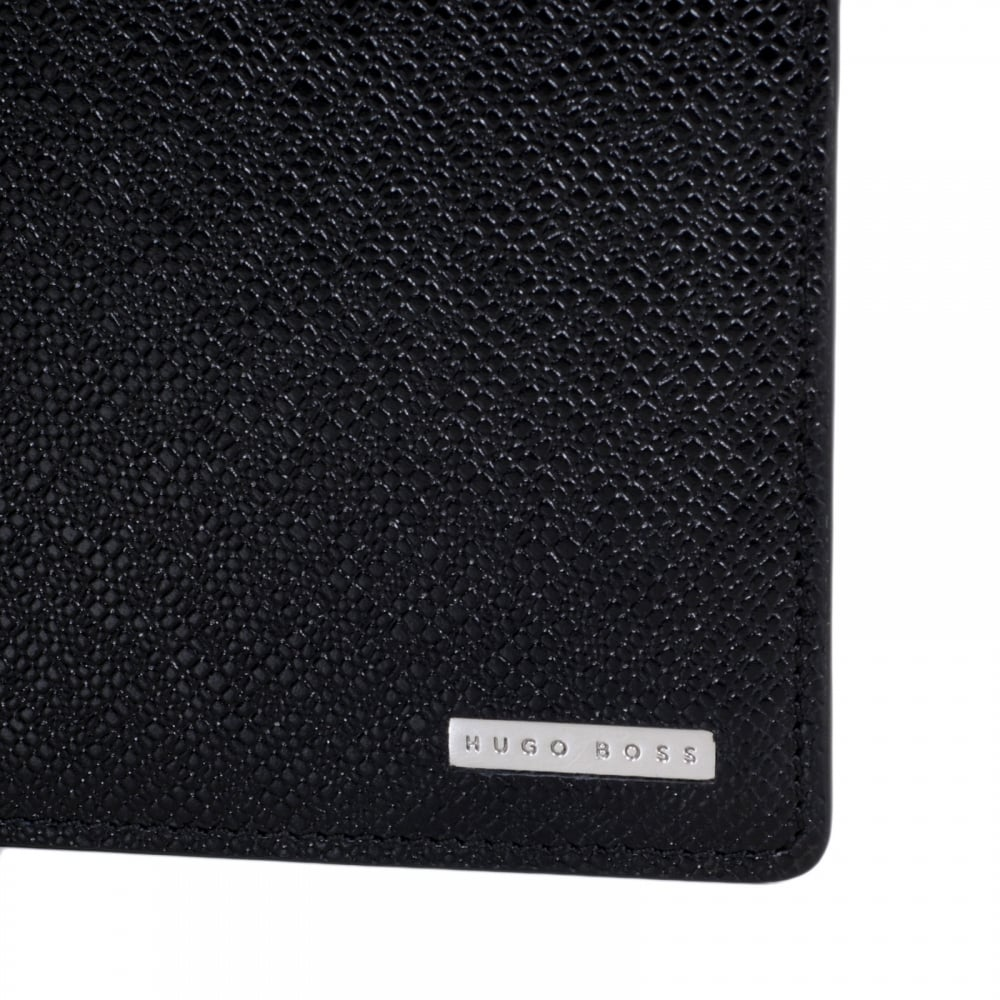 ... HUGO BOSS BLACK Black Grain 50311738 Leather Signature Double Billfold Wallet  for Men with Coin Pouch ...