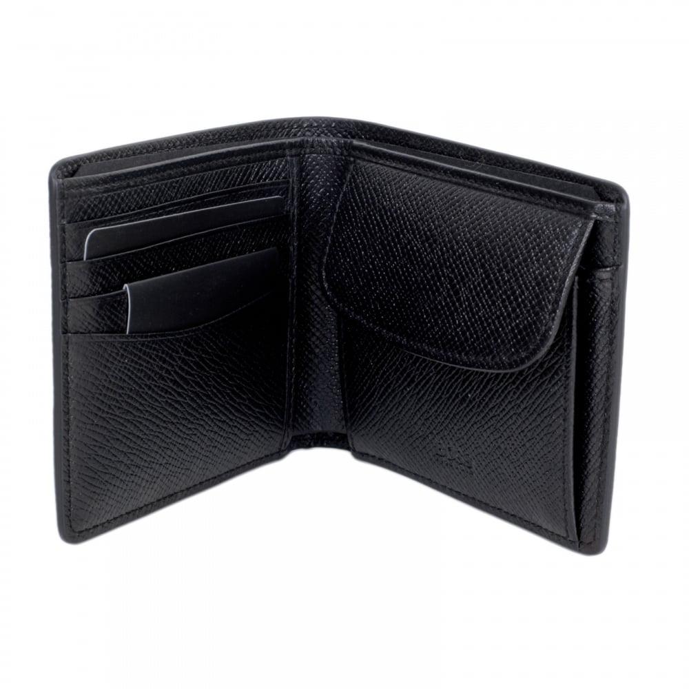 7bc9d74823 ... HUGO BOSS BLACK Black Grain 50311738 Leather Signature Double Billfold  Wallet for Men with Coin Pouch ...