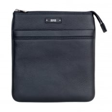Black Grain Leather Traveller Bag for Men 50311778 with Top Zip Closure and Adjustable Strap