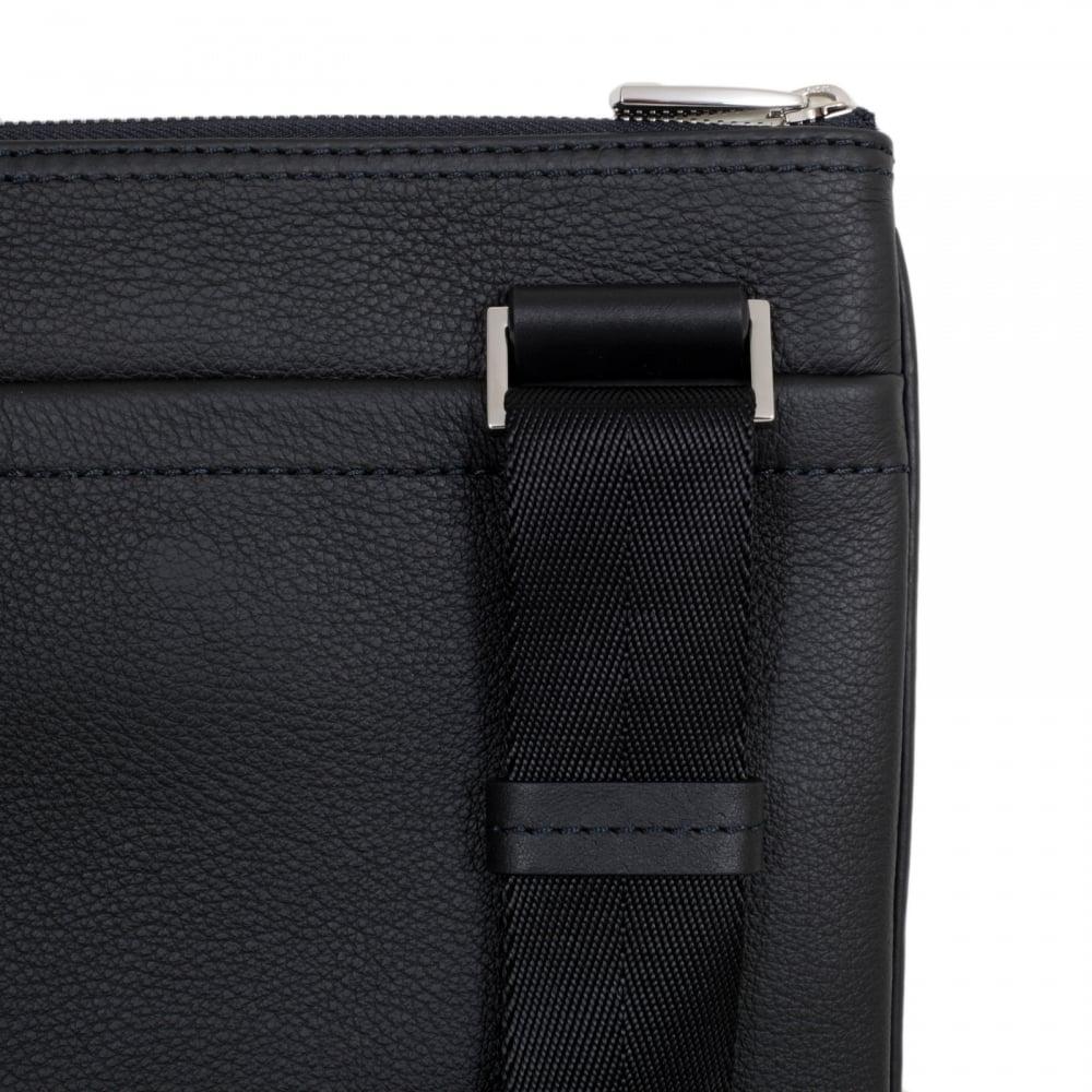 HUGO BOSS BLACK Black Grain Leather Traveller Bag for Men 50311778 with Top  Zip Closure and Adjustable Strap faaeec4c46