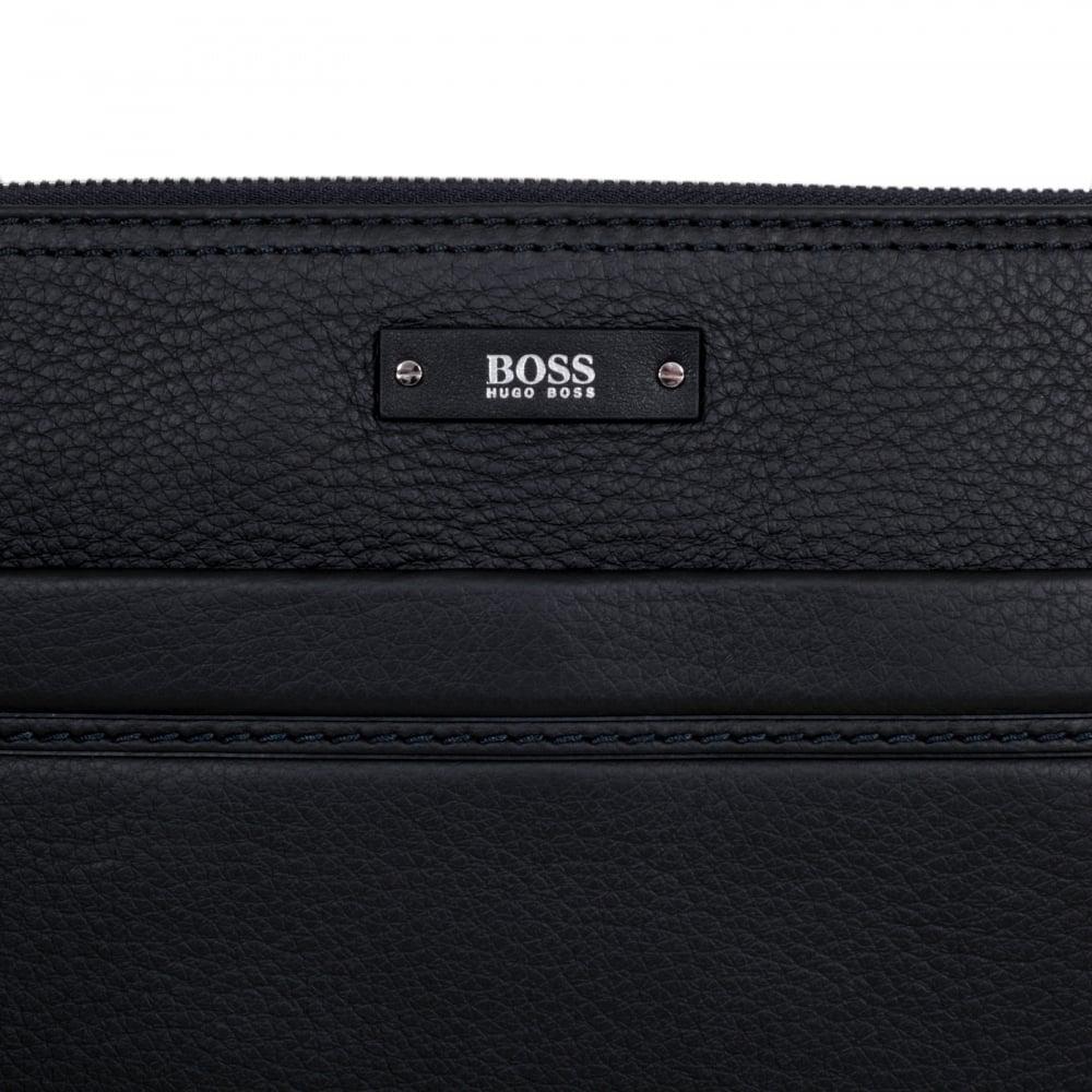 ... HUGO BOSS BLACK Black Grain Leather Traveller Bag for Men 50311778 with Top  Zip Closure and ... c12babaf4c