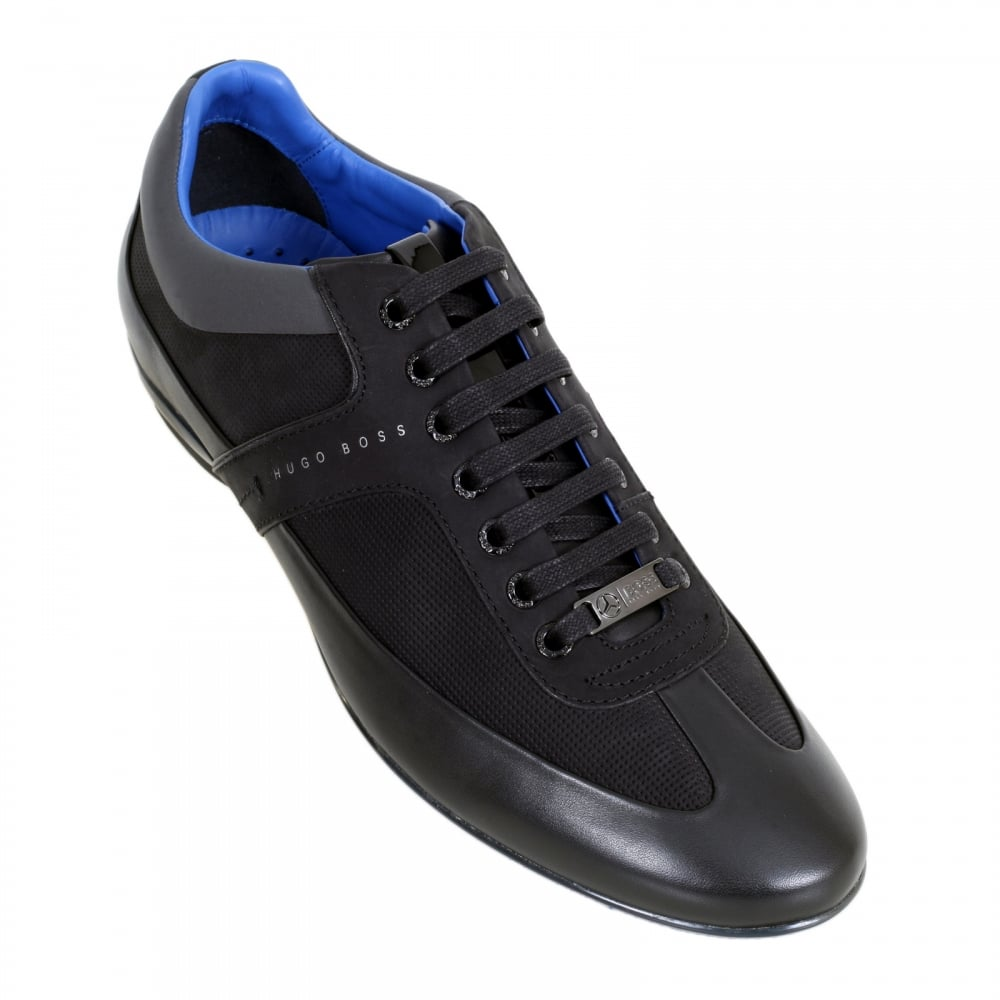 2d6e2c8b2 ... HUGO BOSS BLACK Black Merceso Mercedes Collection Leather Trainers in  Black with Leather and Suede Trim ...