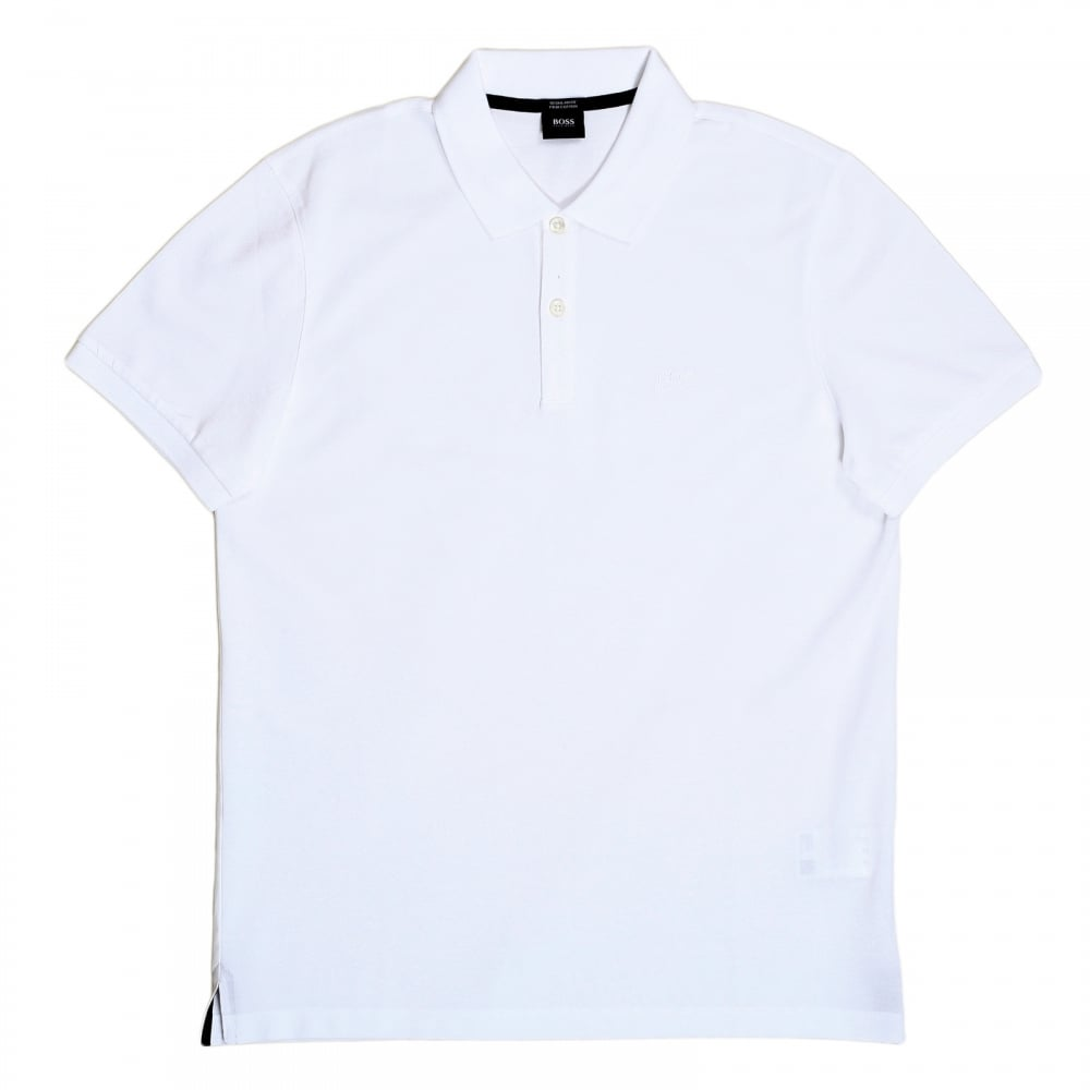 a4c931d43053 ... HUGO BOSS BLACK Boss Black Regular Fit Two Button White Polo Shirt for  Men with Embroidered ...