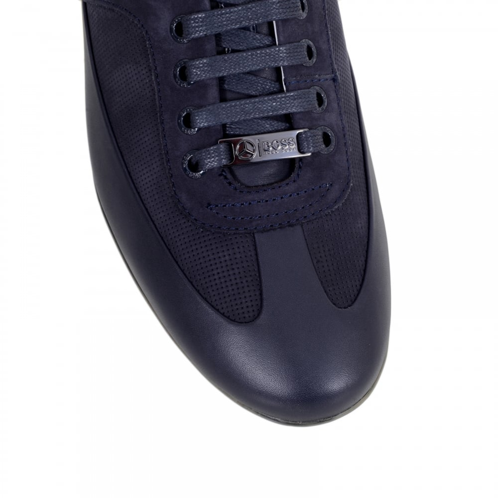 24d1d341340 HUGO BOSS BLACK Dark Blue Perforated Leather Merceso Mercedes Collection Trainers  with Seven Pairs of Logo ...