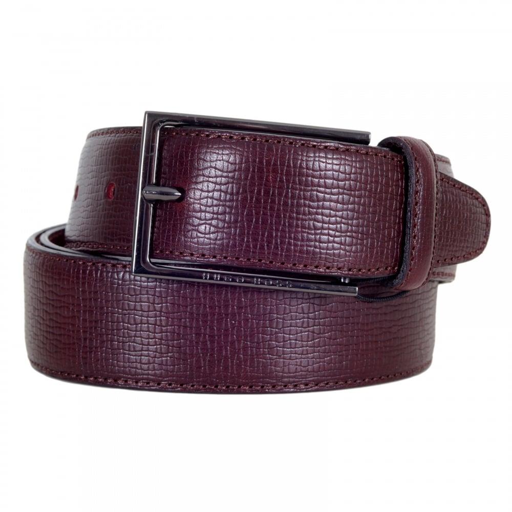 4135255f6a4f4 HUGO BOSS BLACK Dark Mahogany Red Mens 50292298 Cabel Belt with Gunmetal  Grey Buckle