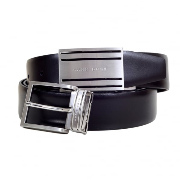 HUGO BOSS BLACK Galen Mens Fully Reversible Smooth and Textured Leather Belt with Two Interchangeable Buckles