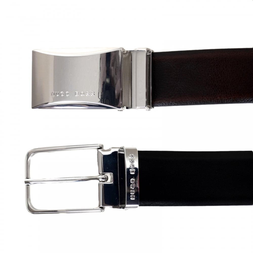 35daf007cb1 ... HUGO BOSS BLACK Garlef 50322498 Fully Reversible Leather Belt for Men  with Two Interchangeable Buckles ...