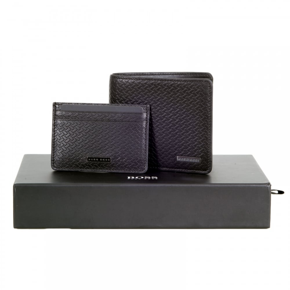67a1220bed6 ... HUGO BOSS BLACK Giarko Black Double Billfold Calfskin Leather Wallet  and Credit Card Boxed Gift Set ...