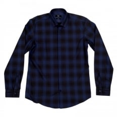 Loren Casual Long Sleeve Slim Fit Shirt in Black and Blue Woven Check Cotton