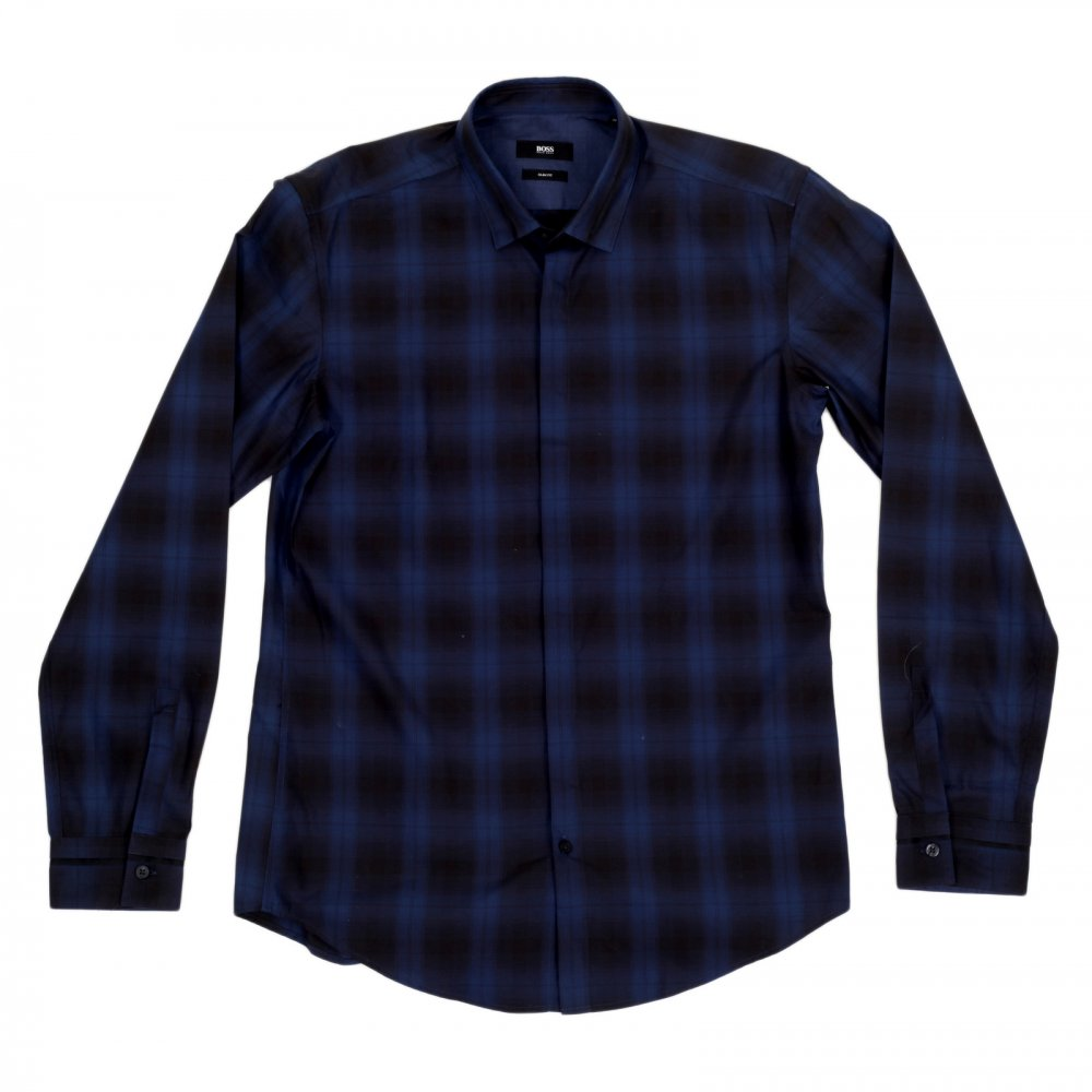 HUGO BOSS BLACK Loren Casual Long Sleeve Slim Fit Shirt in Black and Blue  Woven Check ...