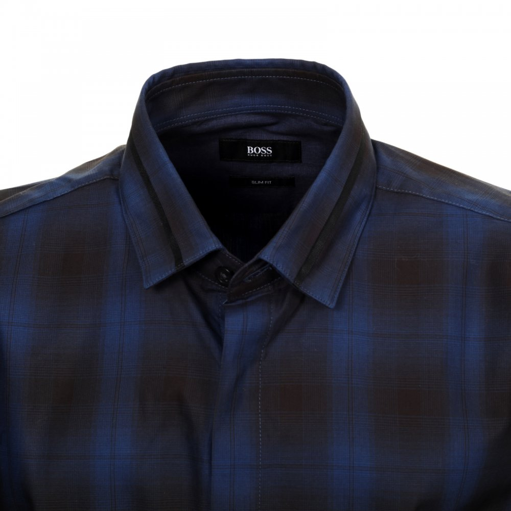 cool checked slim fit casual shirt by hugo boss black. Black Bedroom Furniture Sets. Home Design Ideas