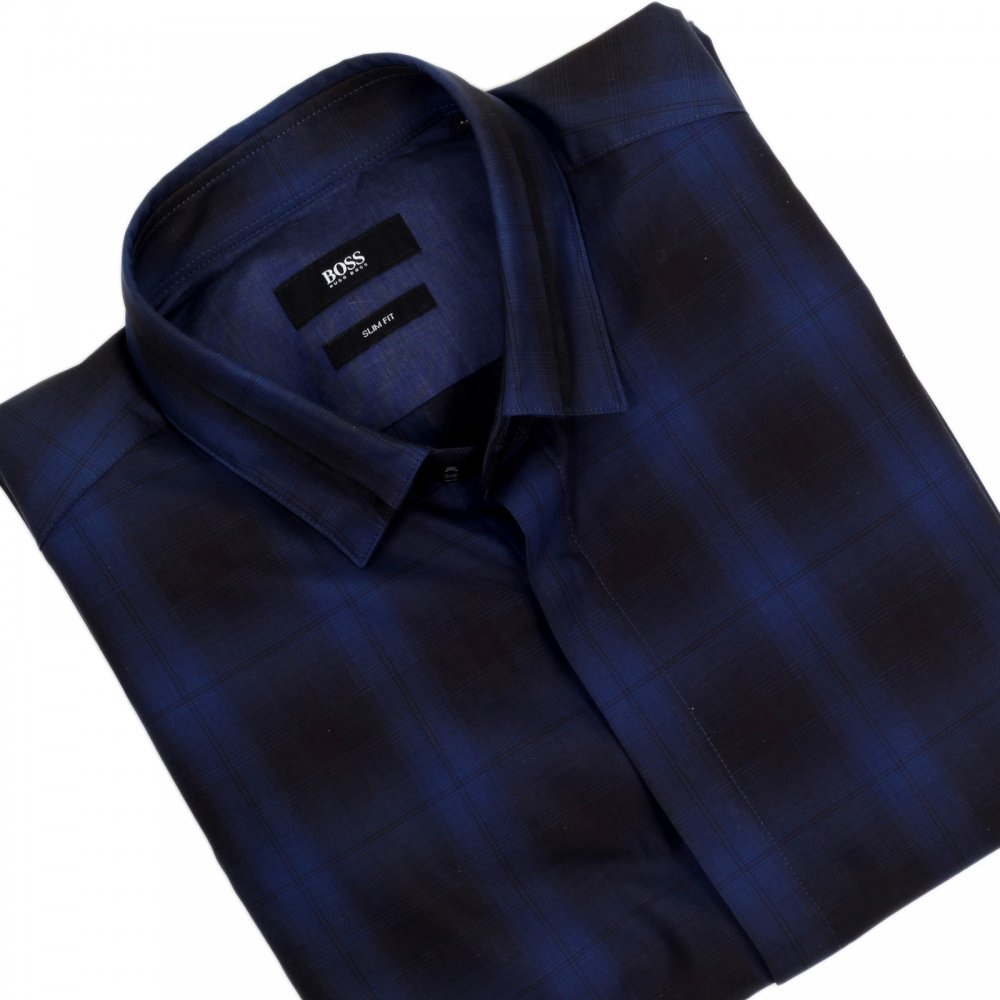 44fdf9688 HUGO BOSS BLACK Loren Casual Long Sleeve Slim Fit Shirt in Black and Blue  Woven Check Cotton