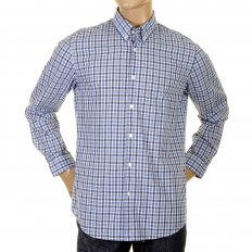 Marcus Blue check long sleeve cotton shirt