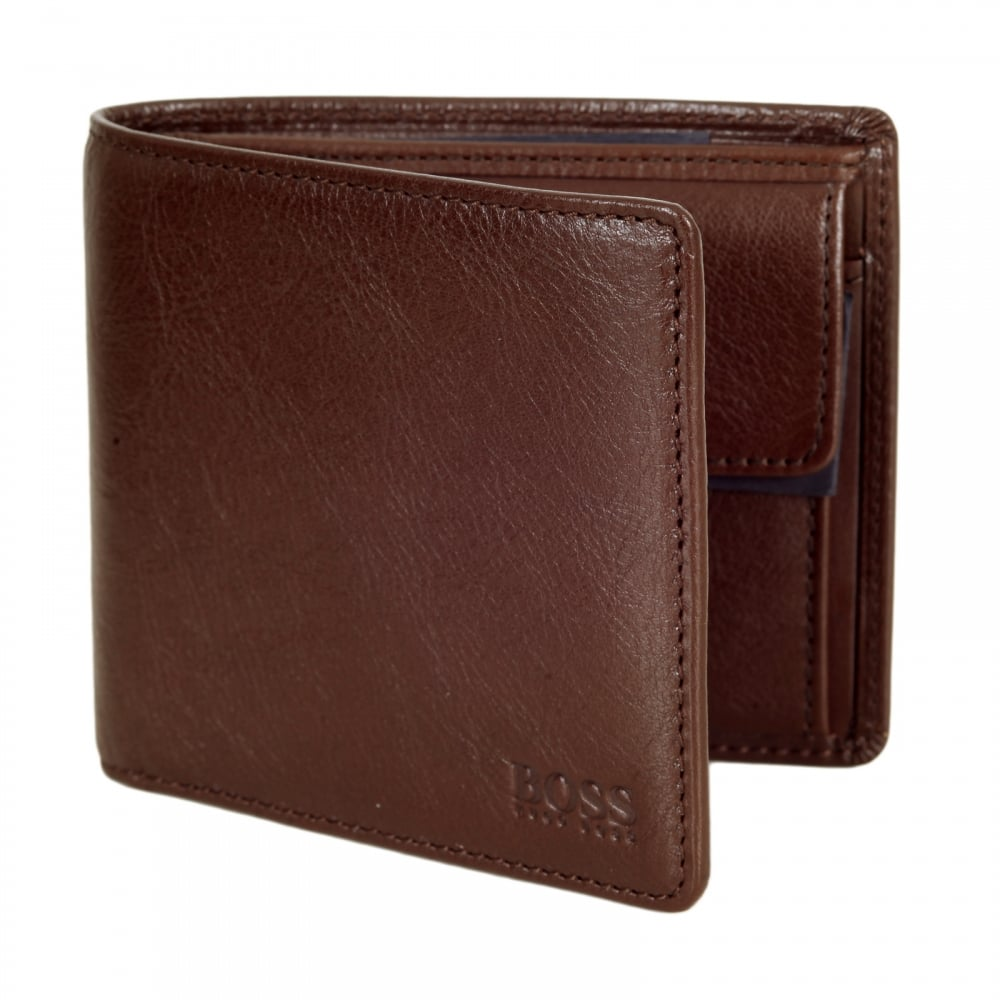 bc1c2e512a1f37 HUGO BOSS BLACK Mens Brown Calfskin Grain 50297528 Leather Berkol Double Billfold  Wallet with Coin Pouch and Credit Card Space
