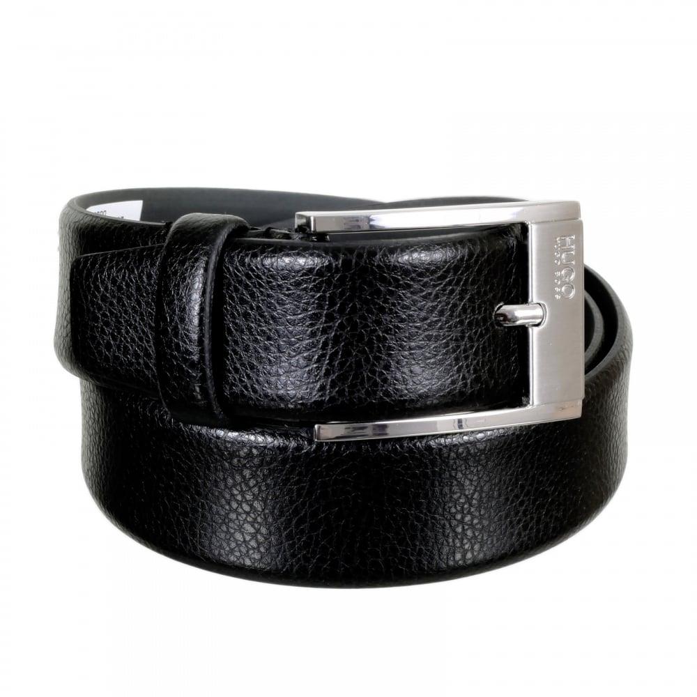 a28fabef99d HUGO BOSS BLACK Mens C Ellot 50292595 Black Grain 100% Cow Skin Leather Belt