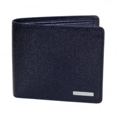 Mens Dark Blue Grain 50311738 Leather Signature Double Billfold Wallet with Coin Pouch and 4 Credit Card Space BOSS6944