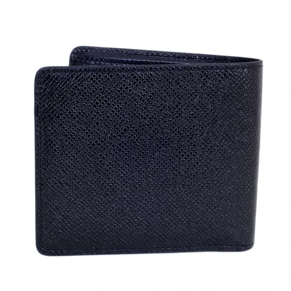 HUGO BOSS BLACK Mens Dark Blue Grain 50311738 Leather Signature Double Billfold Wallet with Coin Pouch and 4 Credit Card Space BOSS6944